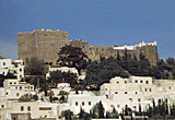 View of the fortified monastry of St. John, and the village of Chora which surrounds it on Patmos, Greece
