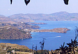 View northwards from below Chora village, Patmos, Greece