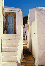One of many narrow alleys running between the houses in Chora village, Patmos, Greece