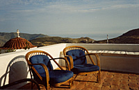 View to the sea in the setting sun (from the roof terrace of the Village house, Chora, Patmos)